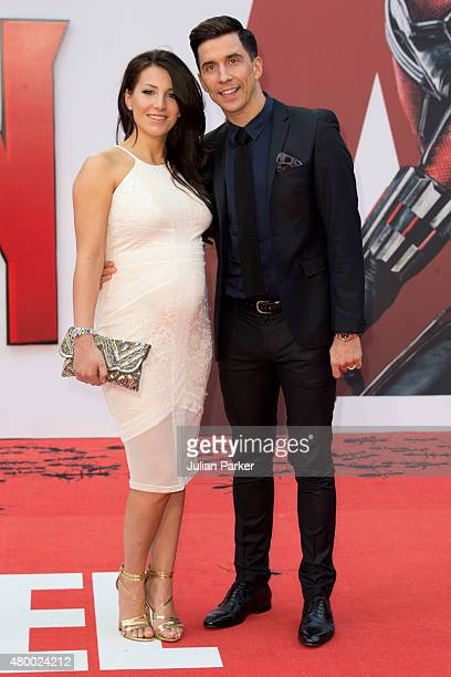 Lindsey Cole and Russell Kane attend the European Premiere of Marvel's 'AntMan' at the Odeon Leicester Square on July 8 2015 in London England