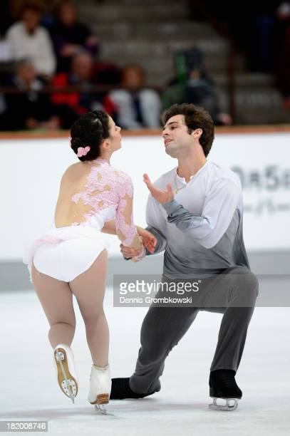 Lindsey Davis and Rockne Brubaker of the United States compete in the Pair's Free Skating competition during day two of the ISU Nebelhorn Trophy at...