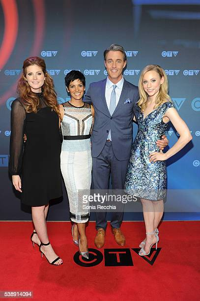 Lindsey Deluce AnneMarie Mediwake Ben Mulroney and Kelsey Mcewen attend CTV Upfronts 2016 at Sony Centre for the Performing Arts on June 8 2016 in...