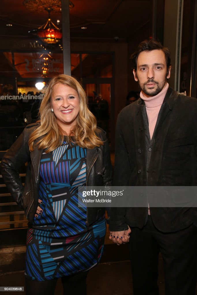 Lindsey Ferrentino and guest attend the Broadway Opening Night Performance of 'John Lithgow: Stories by Heart' at the American Airlines Theatre on January 11, 2018 in New York City.