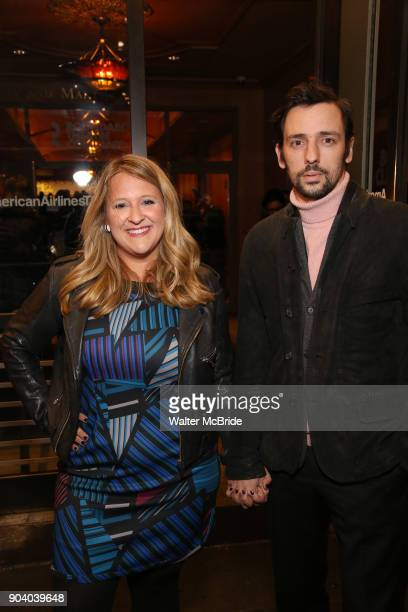 Lindsey Ferrentino and guest attend the Broadway Opening Night Performance of 'John Lithgow Stories by Heart' at the American Airlines Theatre on...