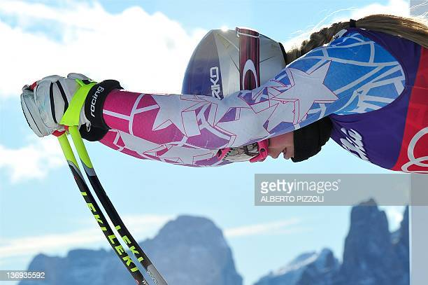 Lindsey Fonn of the US takes the start of the FIS World Cup women's downhill training on January 13 in Cortina d'Ampezzo AFP PHOTO / ALBERTO PIZZOLI