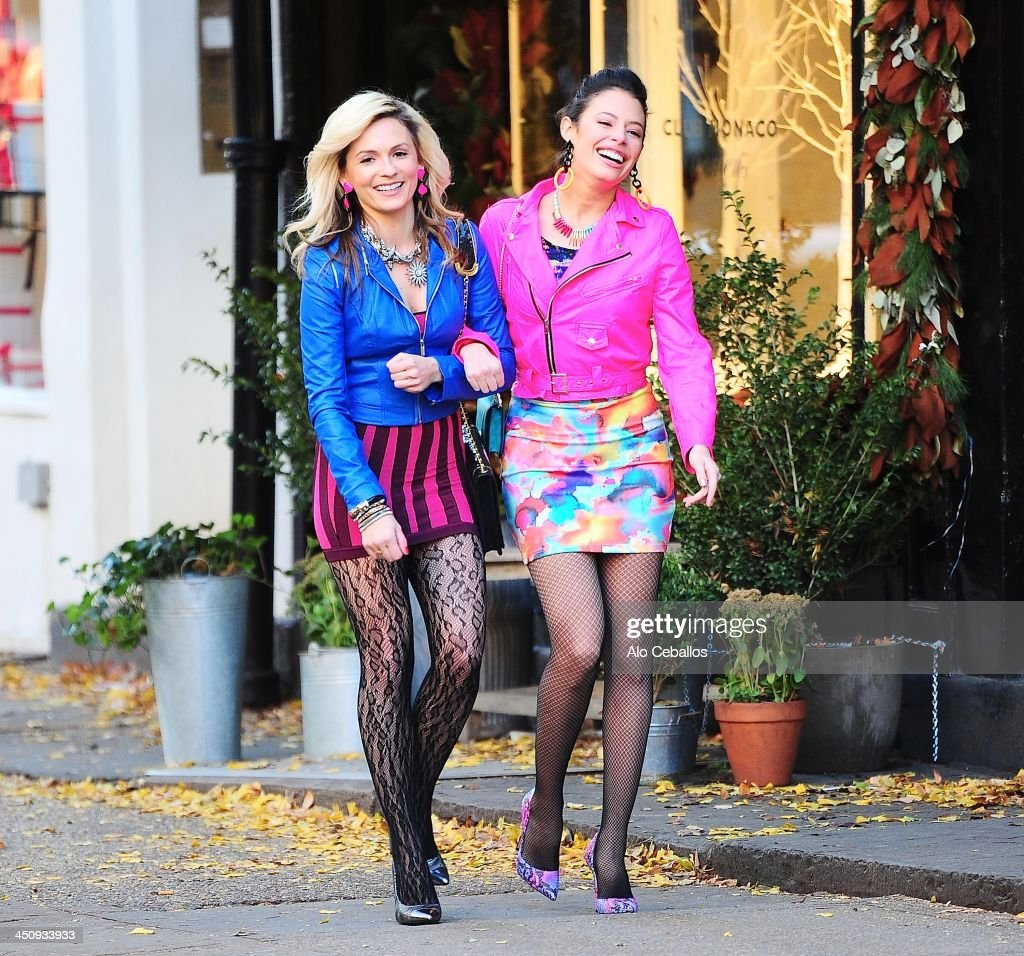 Lindsey Gort and Chloe Bridges are seen on the set of 'Carrie Diaries' on November 20, 2013 in New York City.