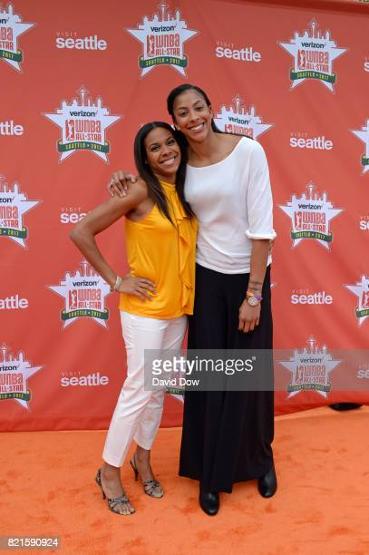 Lindsey Harding and Candace Parker of the Los Angeles Sparks on the orange carpet during the WNBA AllStar Welcome Reception Presented by Visit...