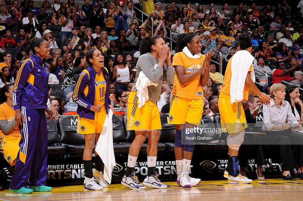 Lindsey Harding #10 and the Los Angeles Sparks celebrate against the Phoenix Mercury at Staples Center on September 15, 2013 in Los Angeles, California.