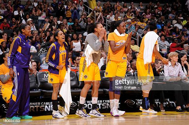 Lindsey Harding and the Los Angeles Sparks celebrate against the Phoenix Mercury at Staples Center on September 15 2013 in Los Angeles California...