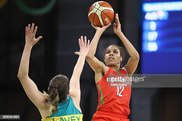 Lindsey Harding of Belarus shoots during the Women's round Group A basketball match between Australia and Belarus on Day 7 of the Rio 2016 Olympic...