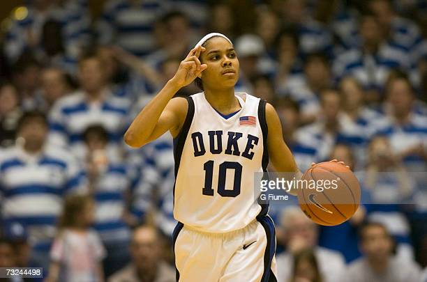 Lindsey Harding of the Duke Blue Devils brings the ball up the court against the Maryland Terrapins January 13 2007 at Cameron Indoor Stadium in...