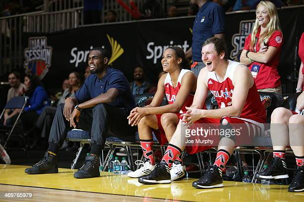 Lindsey Harding of the Los Angeles Sparks and of the West Team celebrates shares a laugh with her team mate during the NBA Cares Special Olympics...
