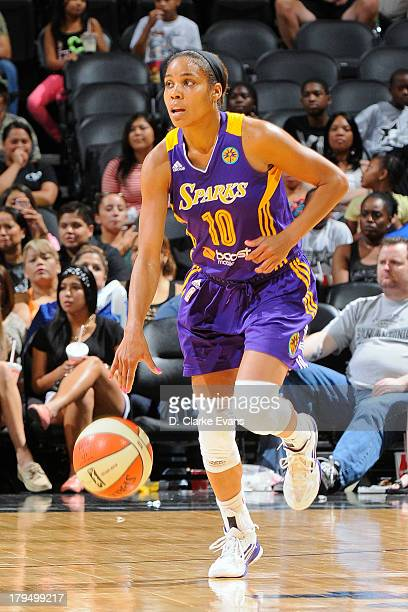 Lindsey Harding of the Los Angeles Sparks brings the ball up court against the San Antonio Silver Stars at ATT Center on August 31 2013 in San...