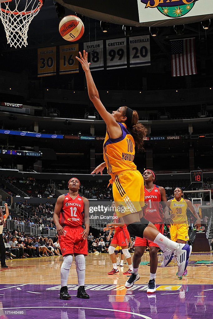 Lindsey Harding #10 of the Los Angeles Sparks drives to the basket against the Washington Mystics at Staples Center on June 23, 2013 in Los Angeles, California.