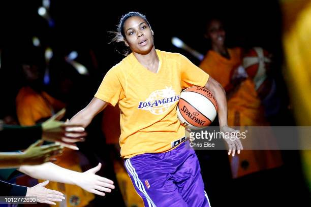 Lindsey Harding of the Los Angeles Sparks gets introduced before the game against the Minnesota Lynx on June 17 2014 at the Staples Center in Los...