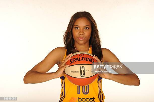 Lindsey Harding of the Los Angeles Sparks poses for a photo during the Los Angeles Sparks Media Day on May 17 2013 at St Mary's School in Inglewood...
