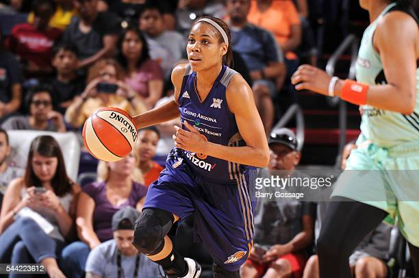 Lindsey Harding of the Phoenix Mercury handles the ball during the game against the New York Liberty on July 1 2016 at US Airways Center in Phoenix...