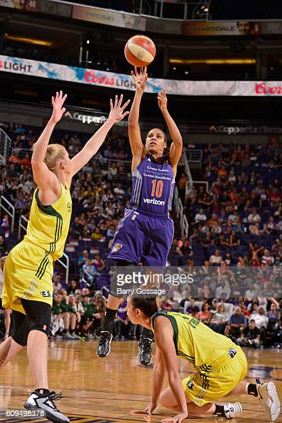 Lindsey Harding of the Phoenix Mercury shoots the ball against the Seattle Storm on September 15 2016 at Talking Stick Resort Arena in Phoenix...