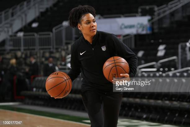 Lindsey Harding of the Sacramento Kings warms up with players before the game against the Milwaukee Bucks on February 10 2020 at the Fiserv Forum...