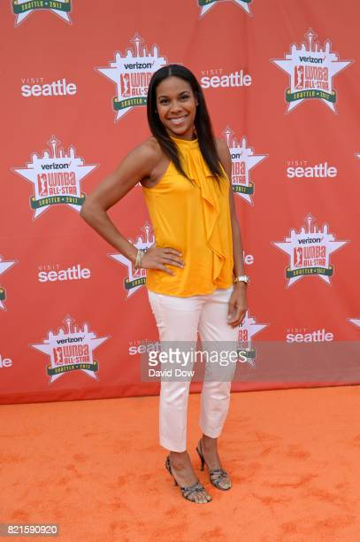 Lindsey Harding on the orange carpet during the WNBA AllStar Welcome Reception Presented by Visit Seattle as part of the 2017 WNBA AllStar Weekend at...