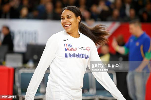 Lindsey Harding smiles before the NBA Cares Unified Basketball Game as part of 2018 NBA AllStar Weekend at the Los Angeles Convention Center on...