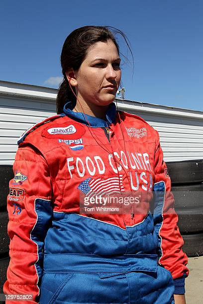 Lindsey Holman of Abingdon Virginia waits her turn to drive during the NASCAR Drive For Diversity Combine at Langley Speedway on October 20 2011 in...