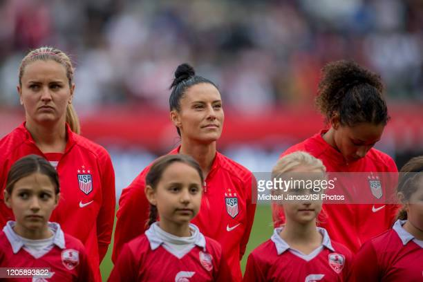 Lindsey Horan Ali Krieger and Lynn Williams of the United States look on prior to a game between Canada and United States at Dignity Health Sports...
