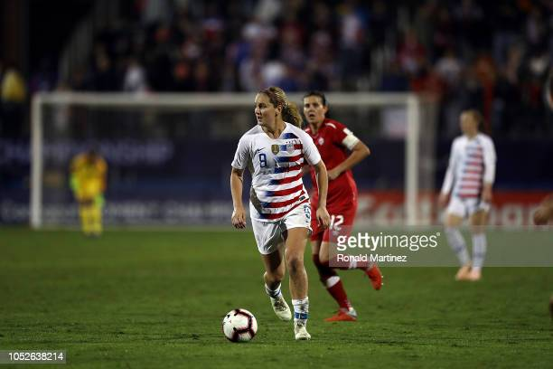 Lindsey Horan of the United States against Canada in the CONCACAF Women's Championship final match at Toyota Stadium on October 17 2018 in Frisco...