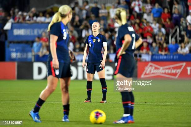 Lindsey Horan of the United States and Abby Dahlkemper check with Becky Sauerbrunn during the second half of the SheBelieves Cup match against Japan...