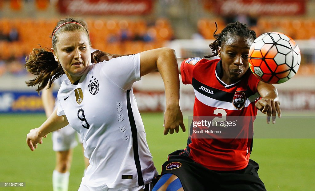 Lindsey Horan #9 of the United States battles for the ball with Janelle Cunningham #2 of Trinidad and Tobago during their Semifinal of the 2016 CONCACAF Women's Olympic Qualifying at BBVA Compass Stadium on February 19, 2016 in Houston, Texas.