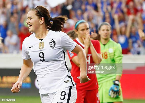 Lindsey Horan of the United States celebrates a second half goal against Canada during the Championship final of the 2016 CONCACAF Women's Olympic...