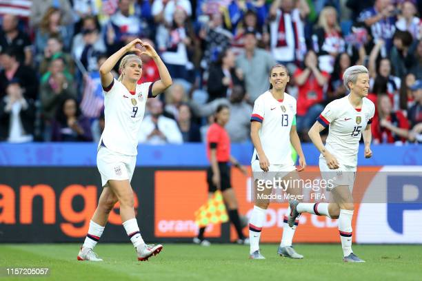 Lindsey Horan of the USA celebrates after scoring her team's first goal during the 2019 FIFA Women's World Cup France group F match between Sweden...