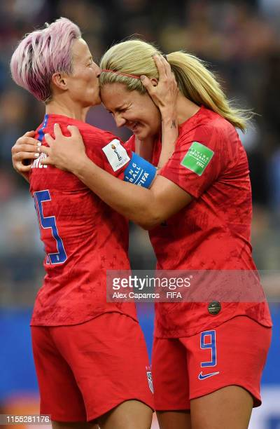 Lindsey Horan of the USA celebrates with teammates after scoring her team's third goal during the 2019 FIFA Women's World Cup France group F match...