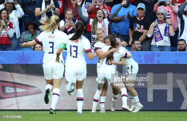 Lindsey Horan of the USA celebrates with teammates after scoring her team's first goal during the 2019 FIFA Women's World Cup France group F match...