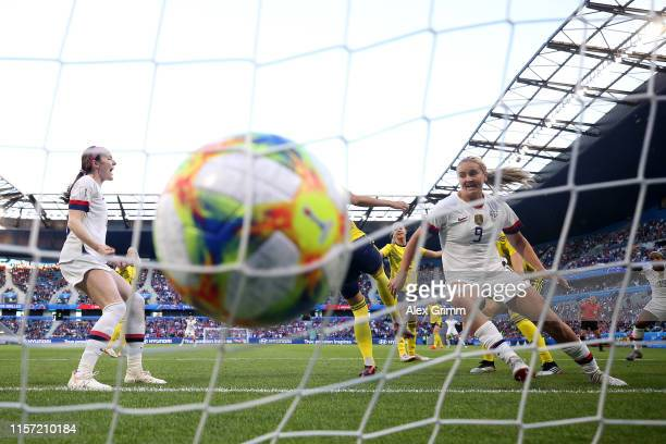 Lindsey Horan of the USA scores her team's first goal the 2019 FIFA Women's World Cup France group F match between Sweden and USA at Stade Oceane on...