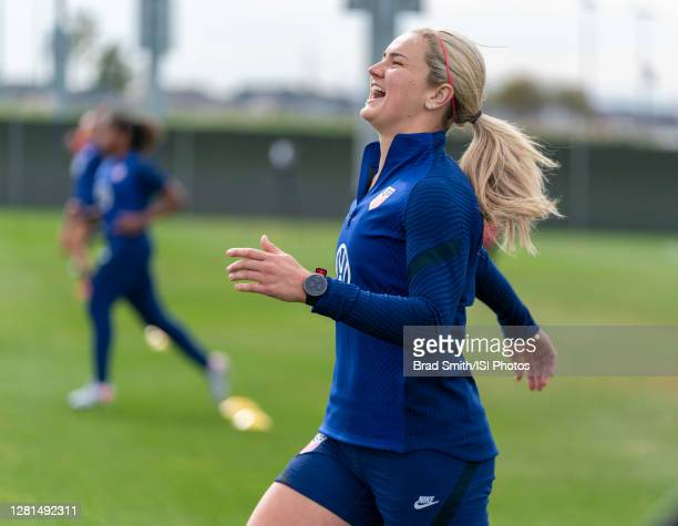 Lindsey Horan of the USWNT laughs during a training session at Dick's Sporting Goods Park training fields on October 20 2020 in Commerce City Colorado