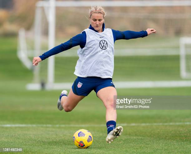 Lindsey Horan of the USWNT takes a shot during a training session at Dick's Sporting Goods Park training fields on October 20 2020 in Commerce City...