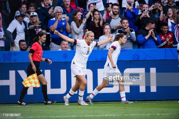 Lindsey Horan of United States celebrates her goal during the 2019 FIFA Women's World Cup France group F match between Sweden and USA at on June 20...