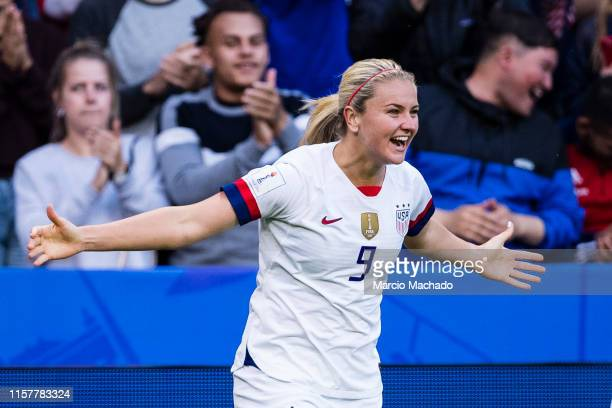 Lindsey Horan of United States celebrating her goal with her teammates during the 2019 FIFA Women's World Cup France group F match between Sweden and...