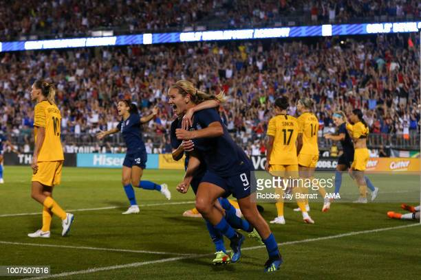 Lindsey Horan of United States of America celebrates after scoring a goal to make it 11 during the Tournament of Nations match between Australia and...