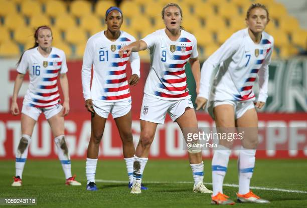 Lindsey Horan of United States of America in action during the International Friendly match between Portugal and United States of America at Estadio...