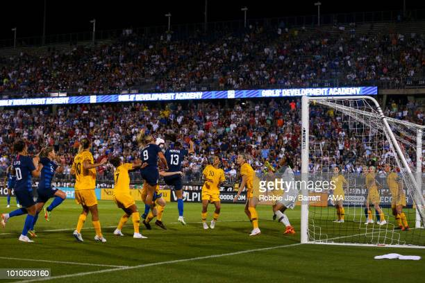Lindsey Horan of United States of America scores a goal to make it 11 during the Tournament of Nations match between Australia and United States of...