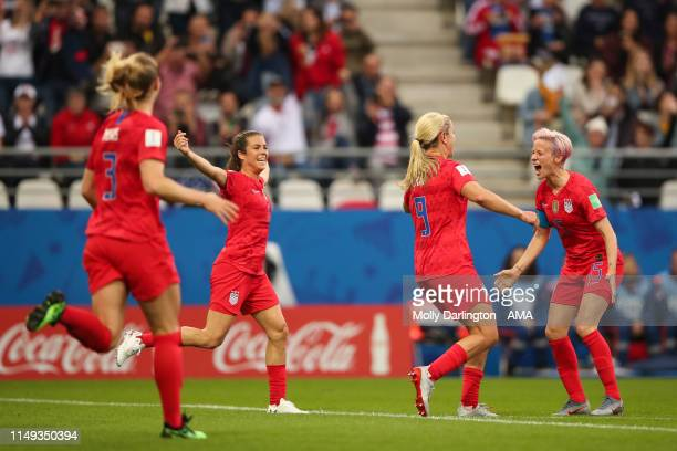 Lindsey Horan of USA celebrates after scoring a goal to make it 30 during the 2019 FIFA Women's World Cup France group F match between USA and...