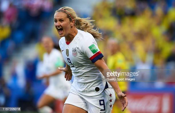 Lindsey Horan of USA celebrates scoring her team's opening goal during the 2019 FIFA Women's World Cup France group F match between Sweden and USA at...