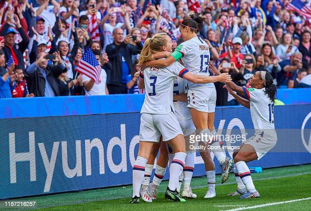 Lindsey Horan of USA celebrates scoring her team's opening goal with team mates during the 2019 FIFA Women's World Cup France group F match between...