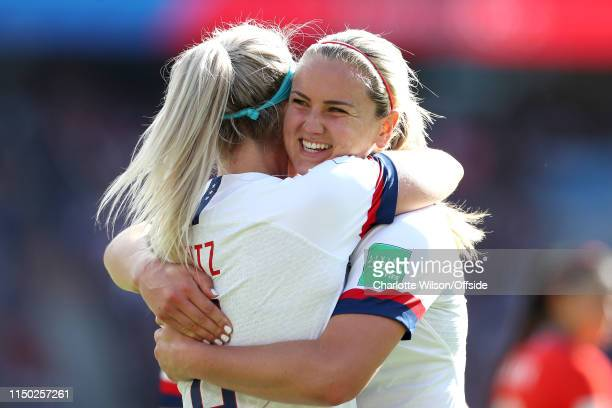 Lindsey Horan of USA celebrates their 2nd goal with goalscorer Julie Ertz during the 2019 FIFA Women's World Cup France group F match between USA and...