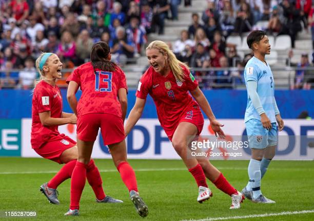Lindsey Horan of USA celebrates their team's third goal during the 2019 FIFA Women's World Cup France group F match between USA and Thailand at Stade...