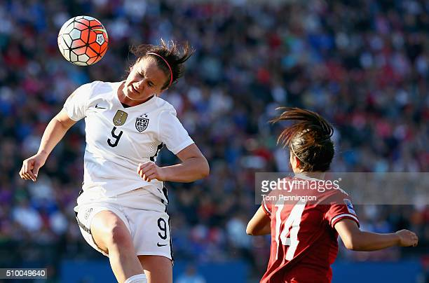 Lindsey Horan of USA heads the ball against Annia Mejia of Mexico in the first half of the United States v Mexico: Group A - 2016 CONCACAF Women's...
