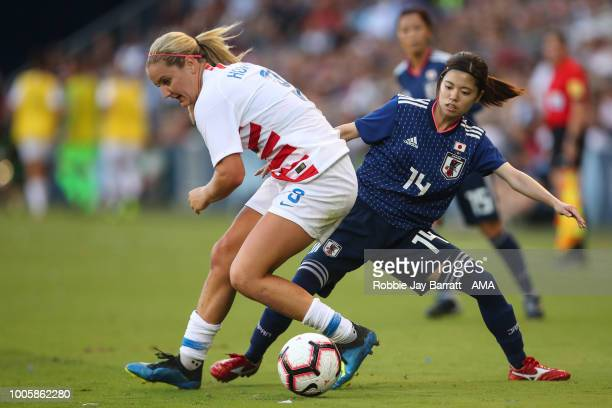 Lindsey Horan United States of America and Yui Hasegawa of Japan during the 2018 Tournament Of Nations women's match between Japan v United States of...