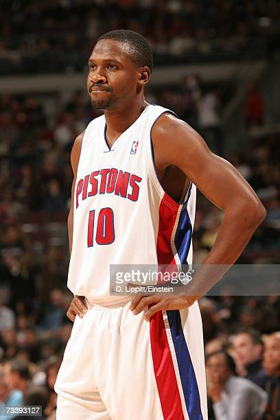 Lindsey Hunter of the Detroit Pistons is on the court during the game against the Toronto Raptors on February 10, 2007 at the Palace of Auburn Hills,...