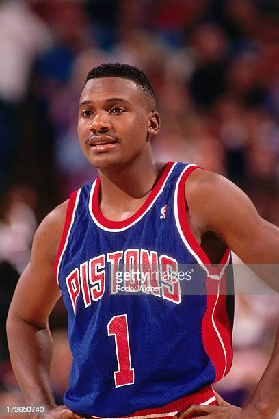 Lindsey Hunter of the Detroit Pistons looks on against the Sacramento Kings during a game played on March 14 1994 at Arco Arena in Sacramento...