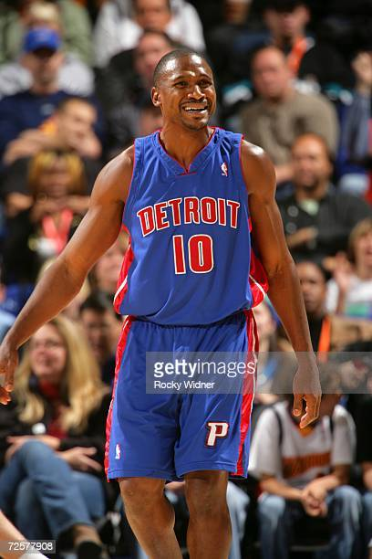Lindsey Hunter of the Detroit Pistons reacts during the game against the Golden State Warriors on November 11 2006 at Oracle Arena in Oakland...