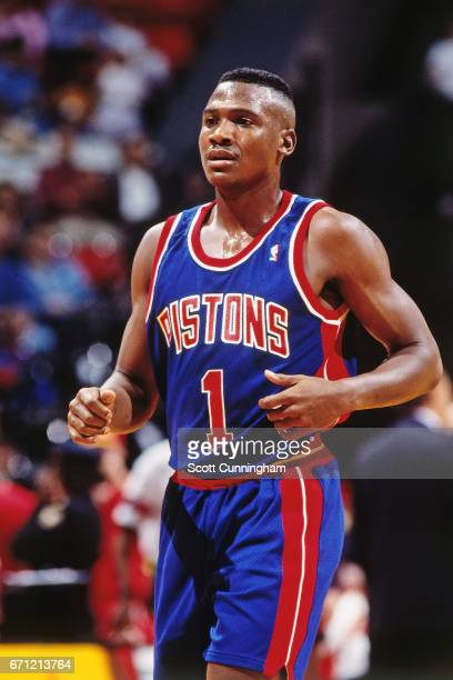 Lindsey Hunter of the Detroit Pistons runs against the Atlanta Hawks during a game played circa 1990 at the Omni in Atlanta Georgia NOTE TO USER User...